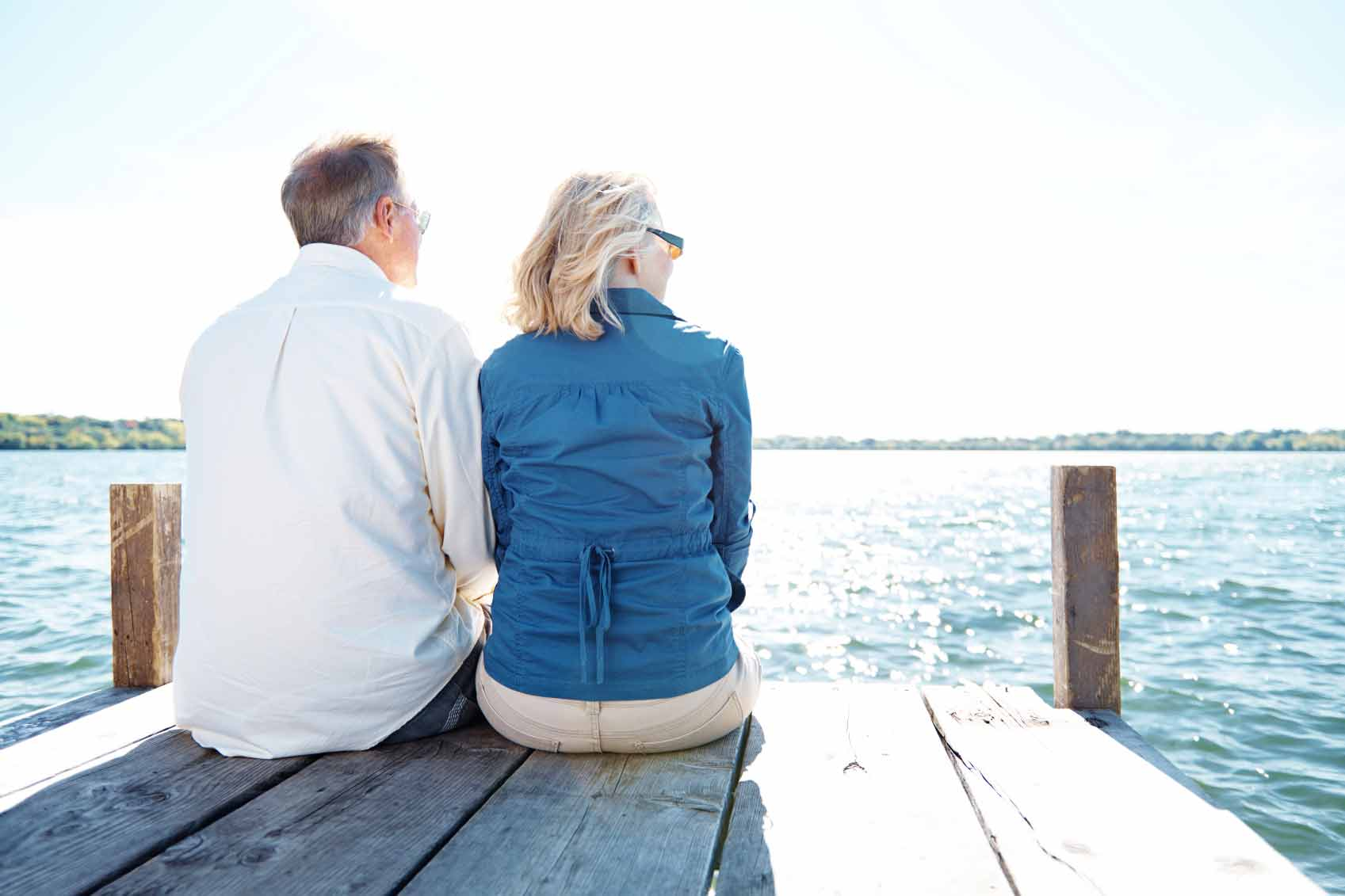 Retired couple sitting on dock