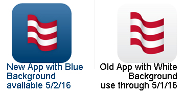 Mobile Banking icon. Blue is the new app.