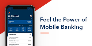 """Feel the Power of Mobile Banking"" phone with NSB mobile app"